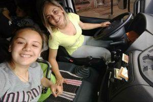 Junto a su hija Mailen de 16 años en un viaje
